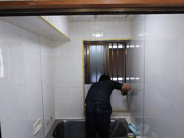 【1】浴室パネル張り