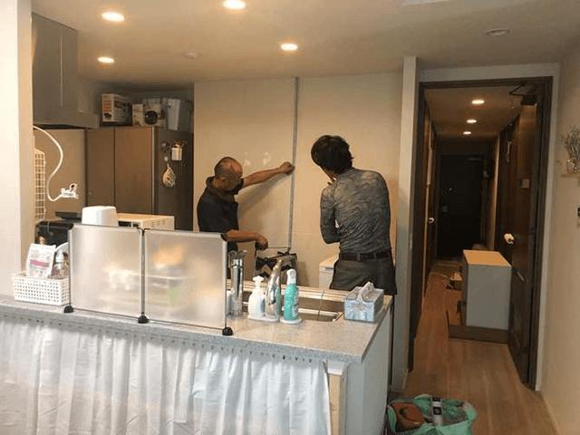 【3】キッチン吊り棚取り付け箇所確認