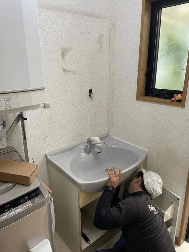 【1】既存洗面化粧台解体作業