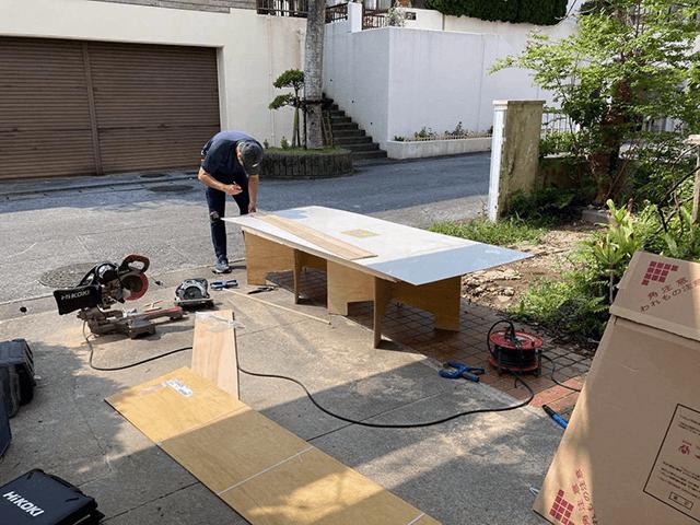 【3】キッチンパネル張り工事